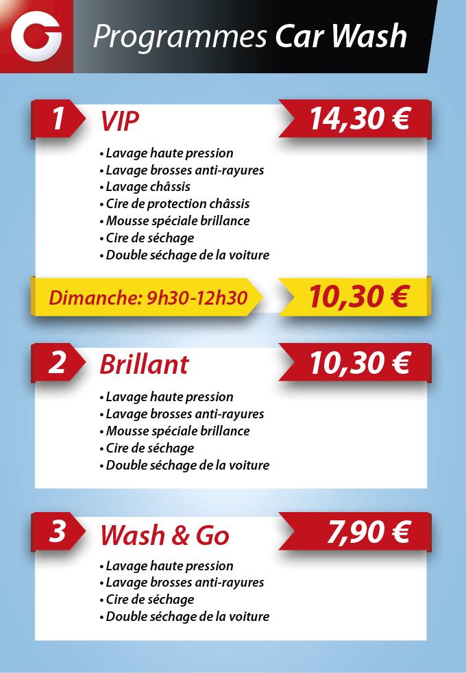 Programme lavages Car Wash